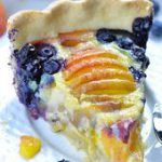 Impossible Peach Blueberry Pie-homemade buttery pie crust filled with creamy van…
