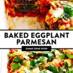 This Baked Eggplant Parmesan recipe is lightened up a bit with Panko-crusted bak…