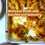 Romesco Shells with  Zucchini and Spinach
