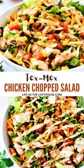 This Tex-Mex Chicken Chopped Salad isfilled with crunchy romaine lettuce, corn…