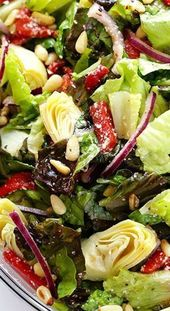Family Favorite Salad with Zesty Red Wine Vinaigrette Recipe ~ You will love thi…